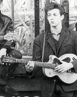 Paul playing John's Höfner Club 40 after John got his Rick 325.